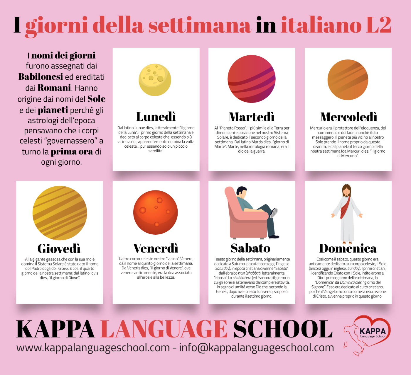 Learn Italian basics: weekdays in italian language, learn Italian words
